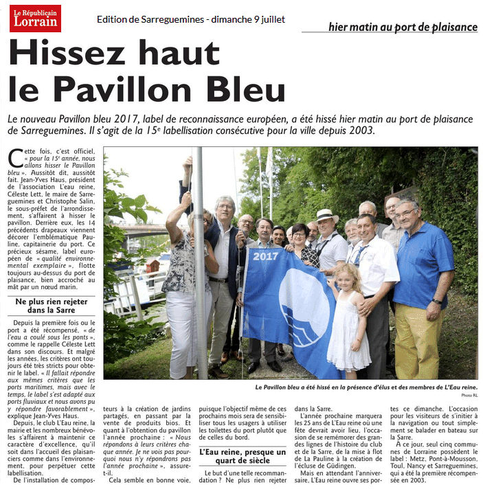 Article RL 20170709 Pavillon Bleu